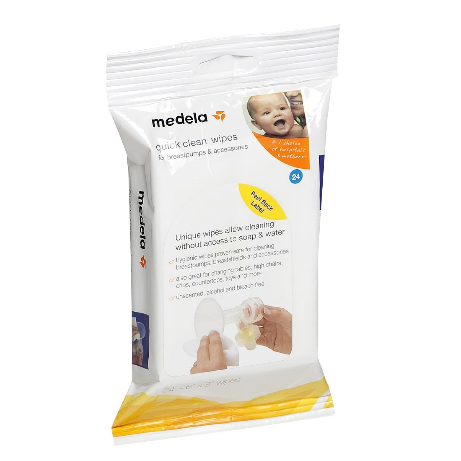 Medela Quick Clean Breast Pump & Accessory Wipes, 24 Ct.